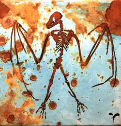 Batman- mixed rust on canvas -20cm x 20cm