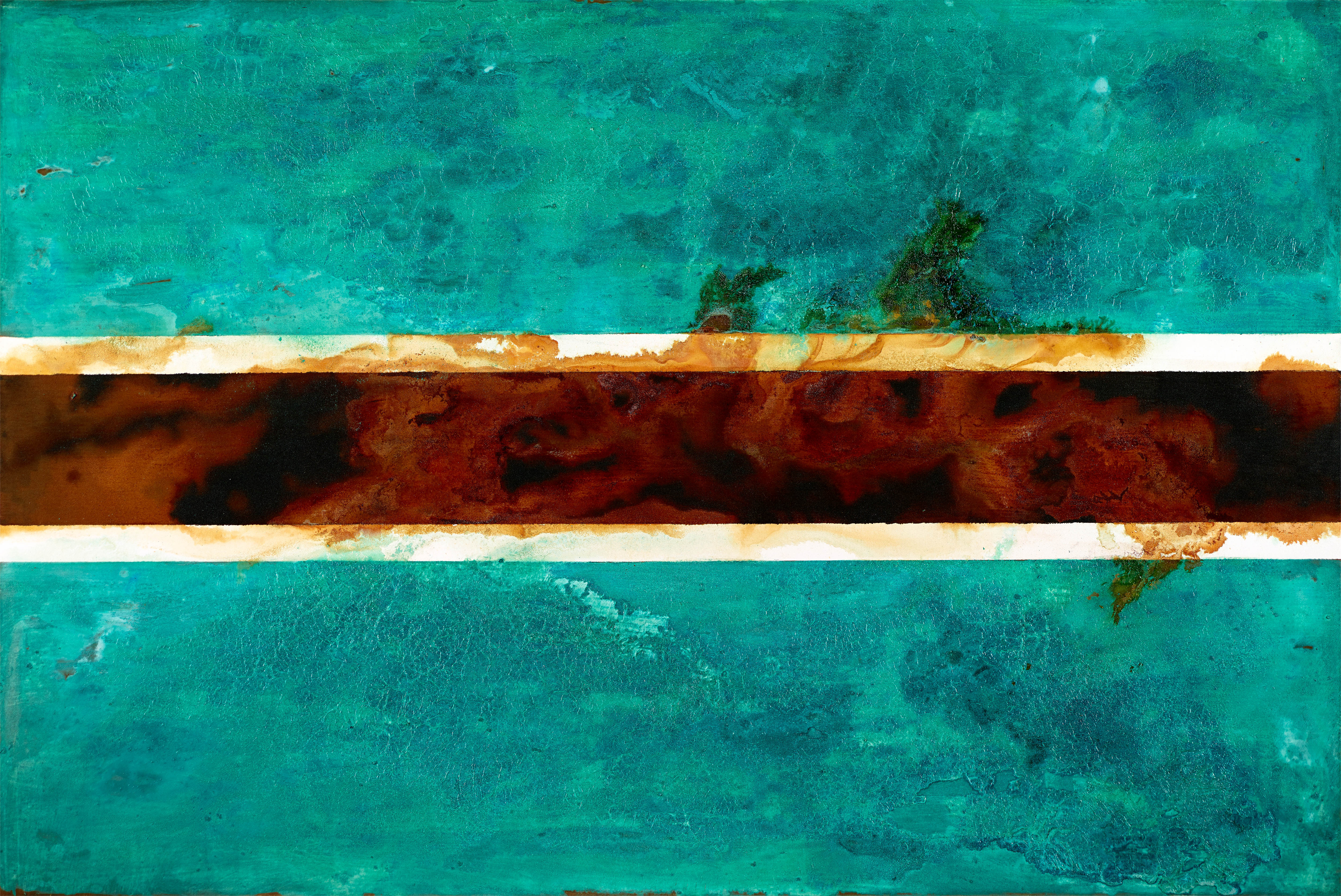 Bostwana -mixed rust medium and acrylic on canvas 1.2m x 1.8m -  HHR