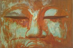 Buddha Face Straight - - mixed rust medium on canvas - 1.2m x 1.6m - HR