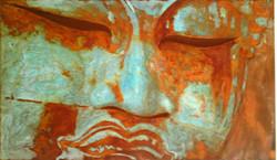 Buddha Face Angle - mixed rust medium on canvas - 1m x 1.5m - HR
