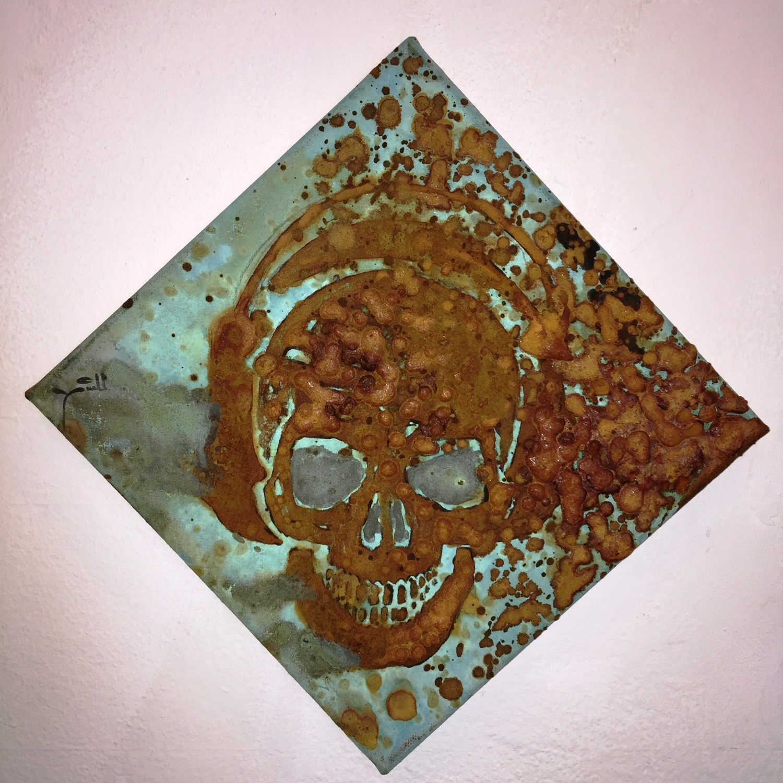 DJ Skull- mixed rust on canvas - 20cm x 20cm_edited
