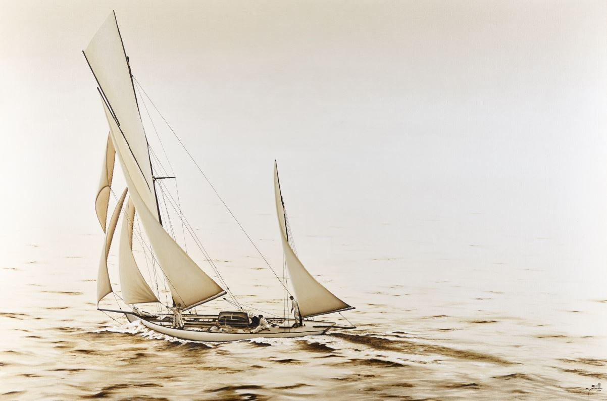 1800s Racing Yacht- oil on canvas - 1cm x 2m