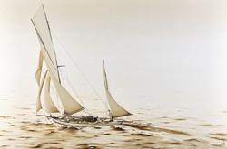 1800s Racing Yacht- oil on canvas - 1cm x 2m