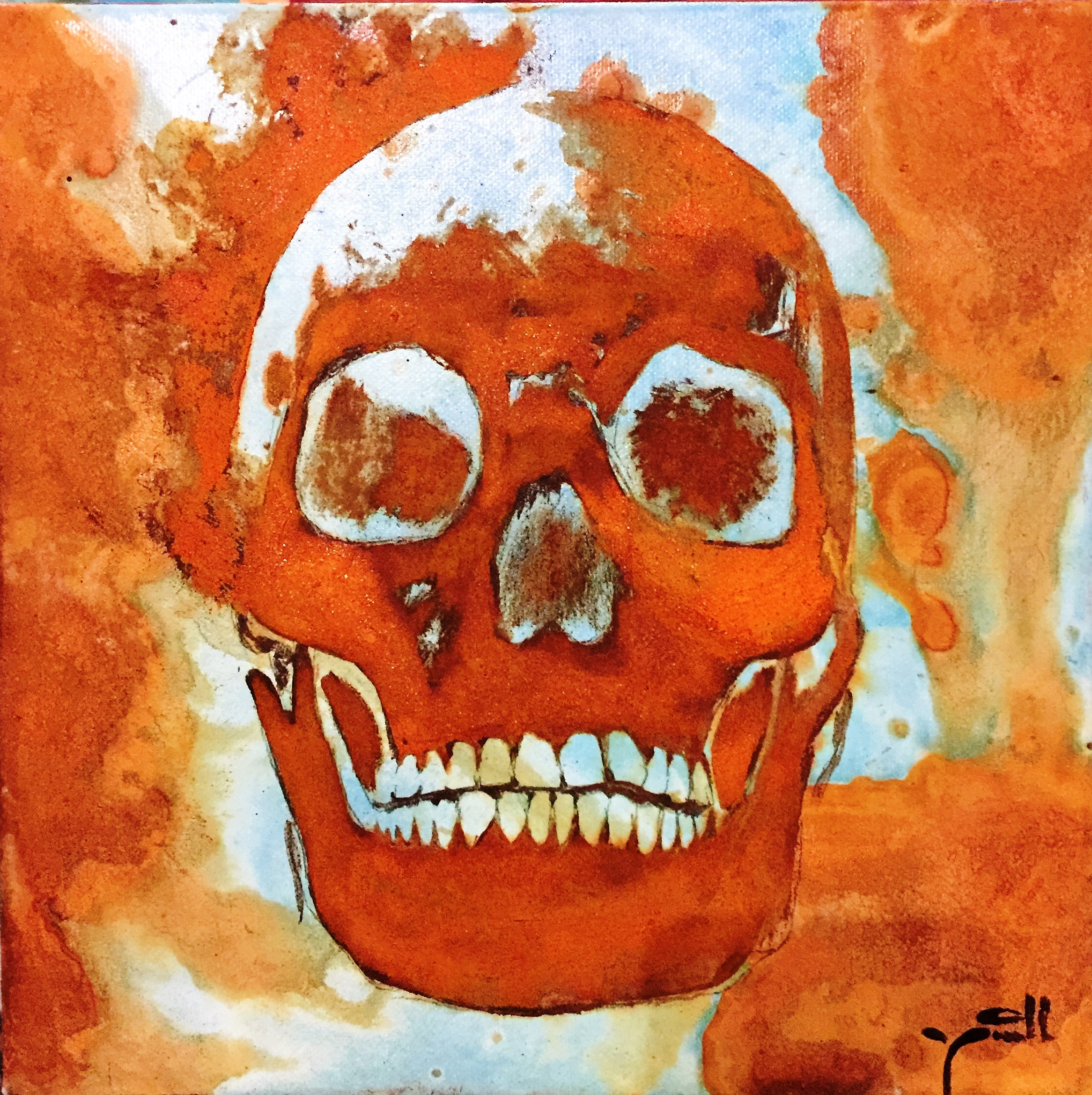 Skull - mixed rust on canvas - 25cm x 25cm