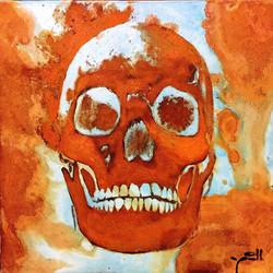 Skull - mixed rust on canvas - 25cm x 25cm