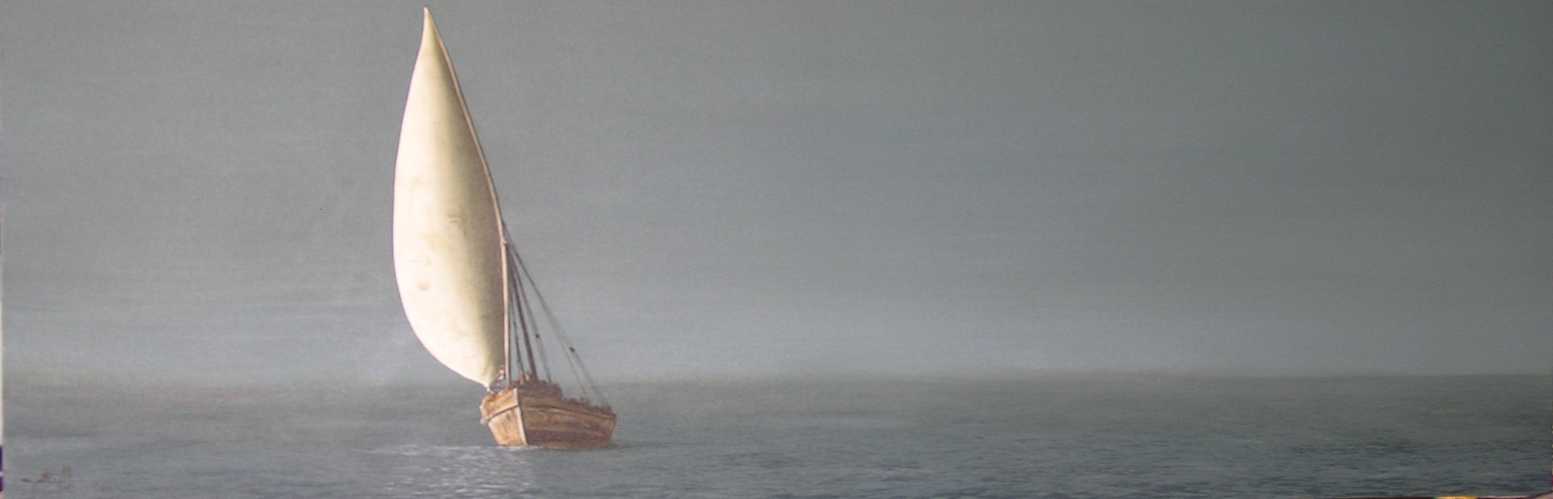 Calm Dhow- oil on canvas - 50cm x 1.7m