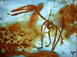 Prehistoric Flight 2 - mixed rust on canvas - 30cm x 50cm