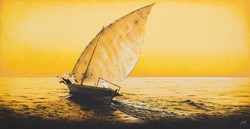 Yellow Dhow - oil on canvas - 1m x 2m - HR