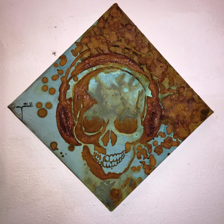 DJ Skull 2 - mixed rust on canvas - 20cm x 20cm_edited