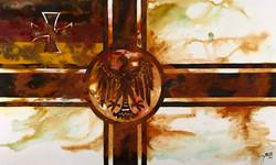 German-mixed rust medium and acrylic on canvas 1m x 1.7m LR