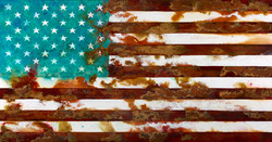 Foreign Policy --mixed rust medium and acrylic on canvas 1m x 2m LR