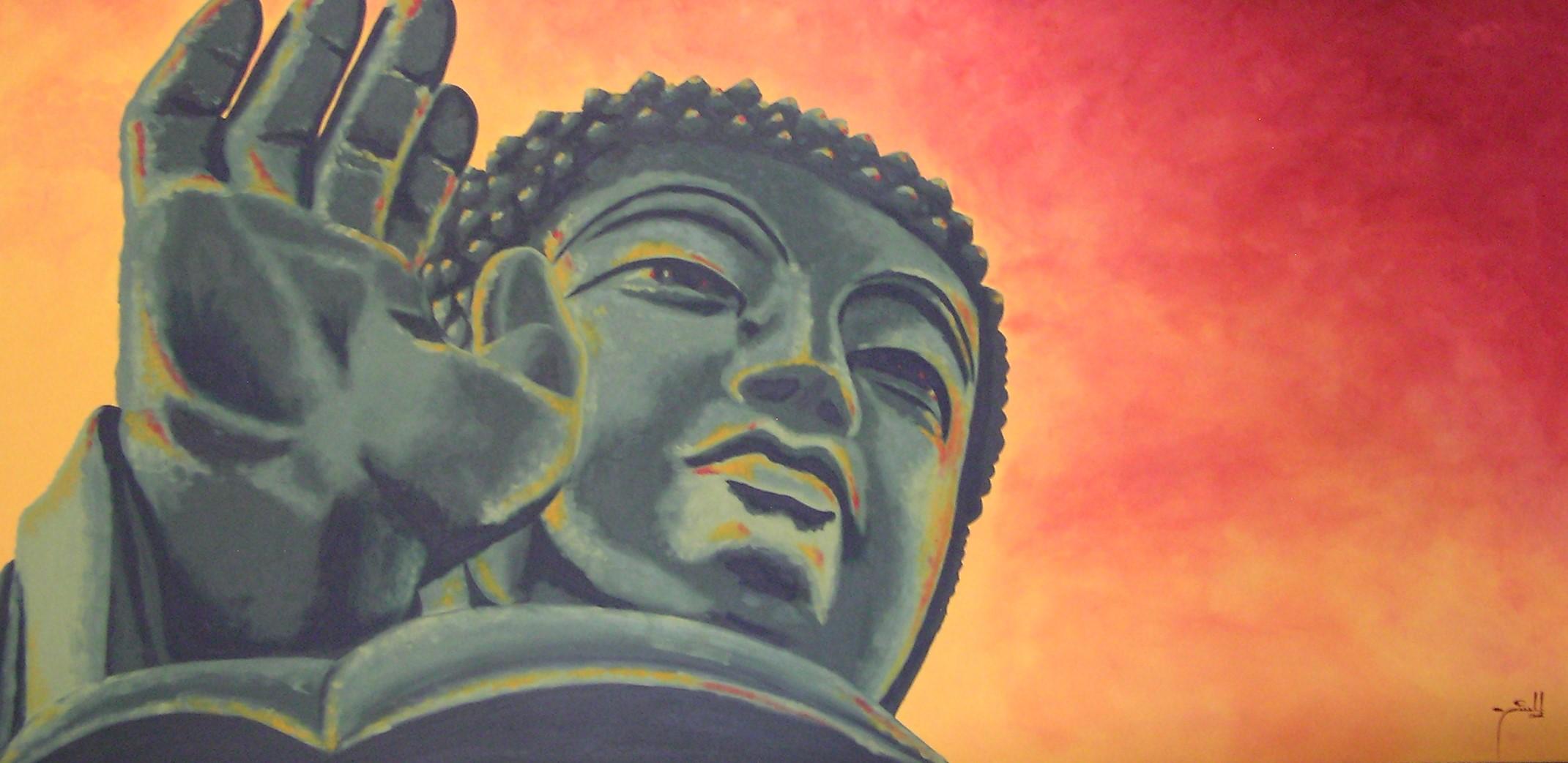 Sunset Buddha- oil on canvas - 1m x 2m HR