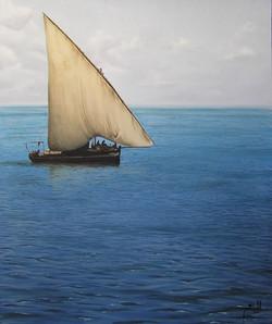 Alan's Dhow - oil on canvas - 80cm x 100xm