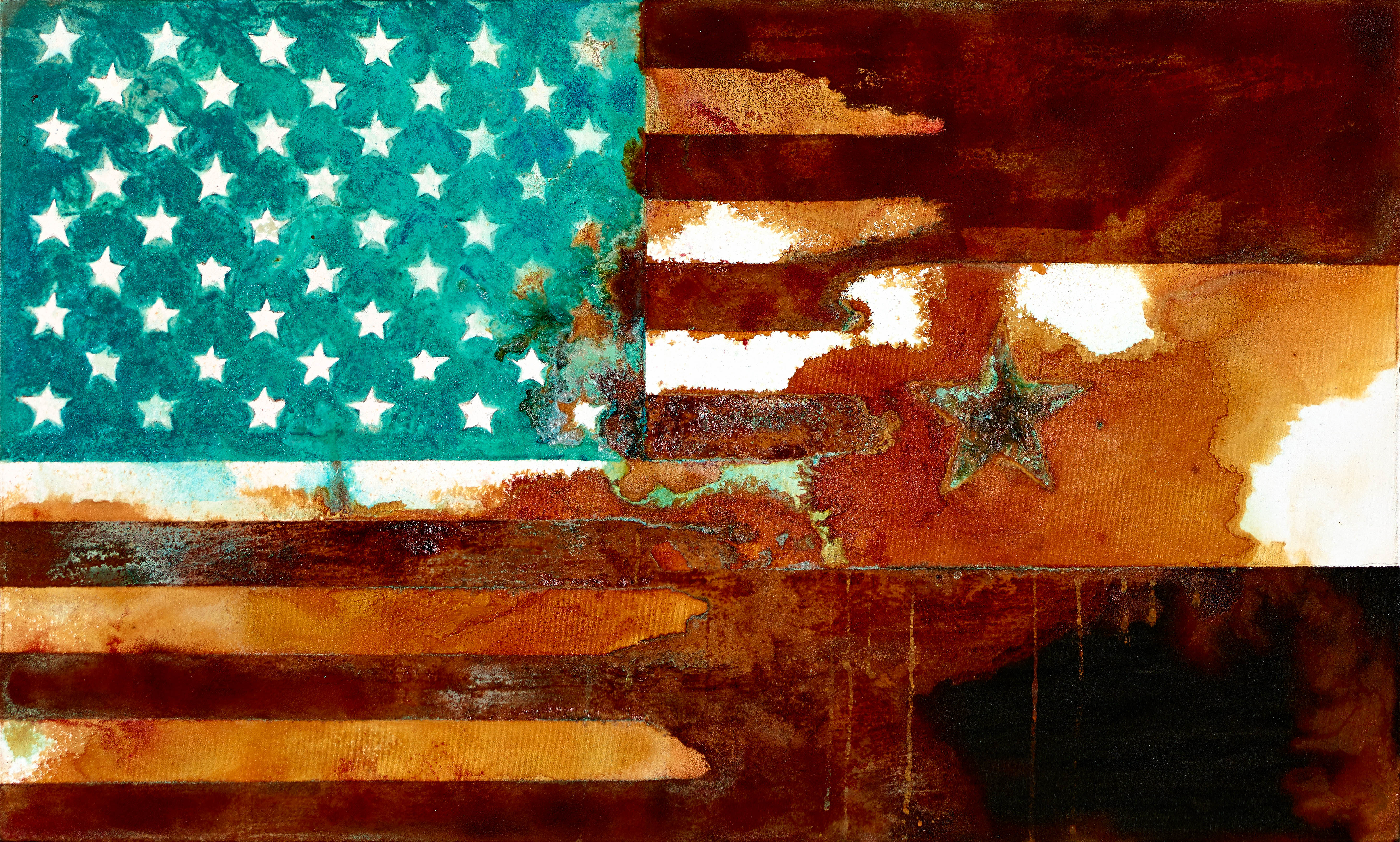 One Star -mixed rust medium and acrylic on canvas 50cm x 70cm  HHR