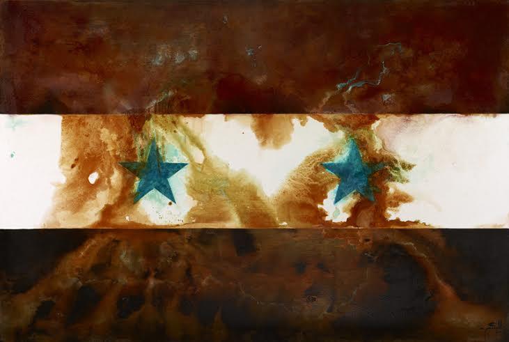 Syria -mixed rust medium and acrylic on canvas 1.2m x 1.8m  HHR