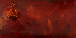 USSR --mixed rust medium and acrylic on canvas 1m x 2m  LS