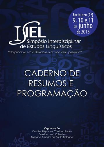 Publicado o Caderno de Resumos e Programação do I SIEL