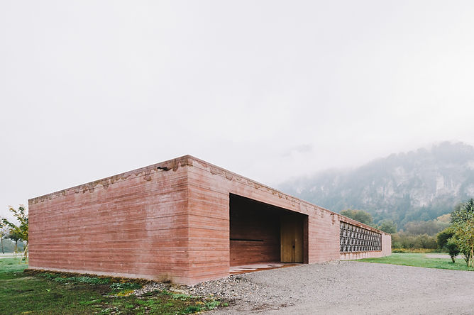 Islamic Cemetery, Bernardo Bader, Vorarlberg, Architecture, Photograhy, Concrete, pigmented, red