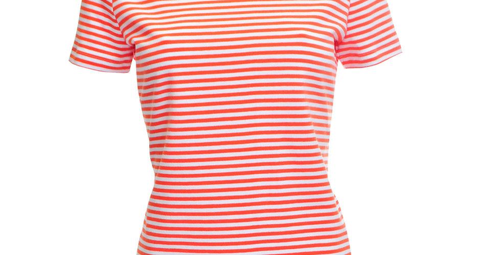Vorderansicht Jersey T-Shirt mit weißen und orangen Querstreifen