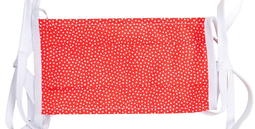 Mund-Nasen-Maske mit Bindebändern in rot mit weißen Punkten