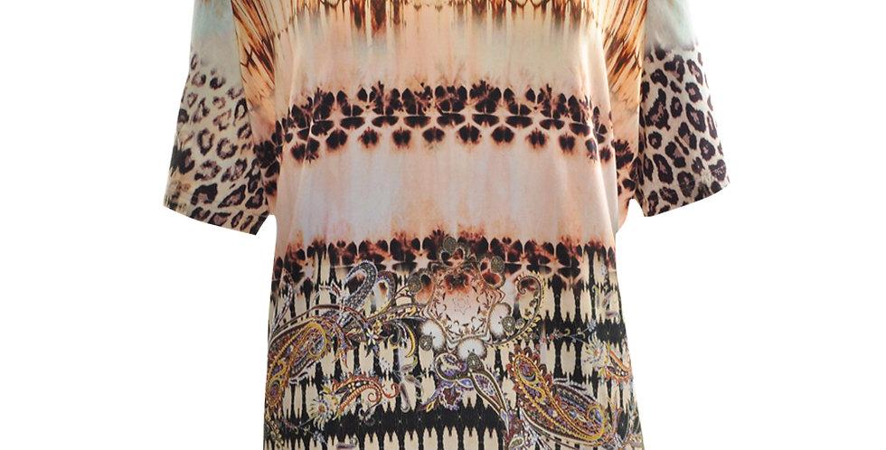 T-Shirt mit unterschiedlichen Leopardenmusterdrucken