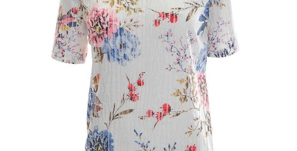 T-Shirt in weiß mit Rosendruck in blau und rosa mit langen Ärmeln