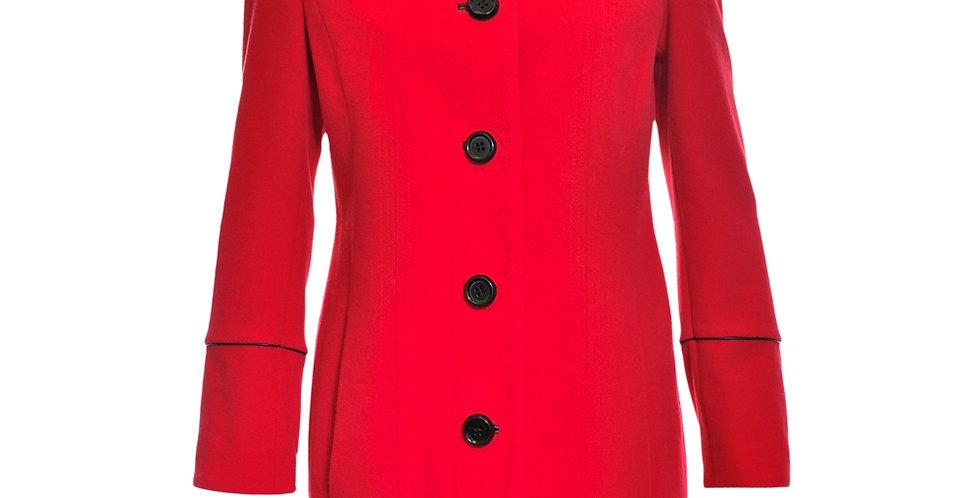 Vorderansicht klassischer roter Mantel mit schwarzer Kontrastpaspelierung