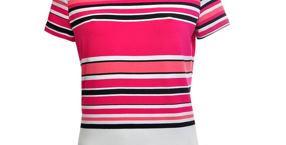 Vorderansicht Jersey T-Shirt mit unterschiedlich hohen Querstreifen in magenta, schwarz und weiß