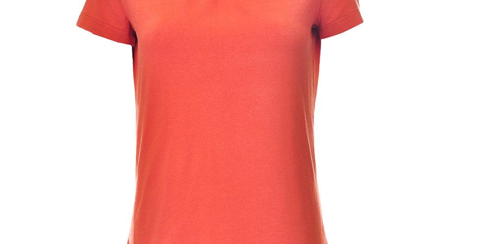 Vorderansicht T-Shirt orange mit Schmuckfalten am Ausschnitt