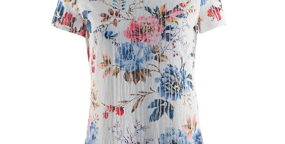 Vorderansicht T-Shirt mit Rosendruck und halbtransparenten Elementen
