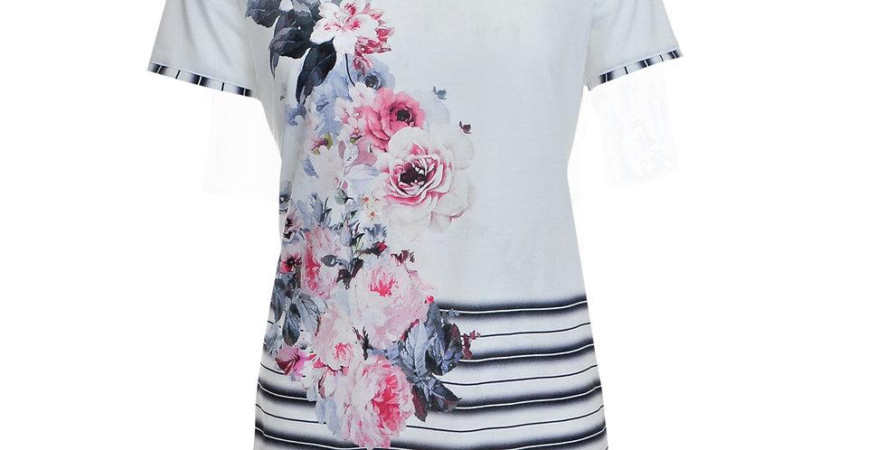 Vorderansicht T-Shirt mit Rosendruck und Streifen