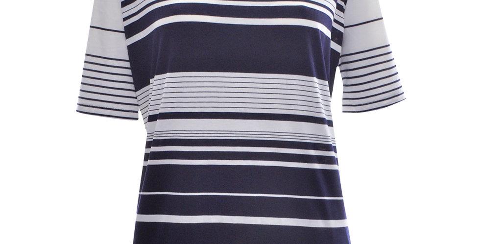 T-Shirt mit dunkelblauen Querstreifen