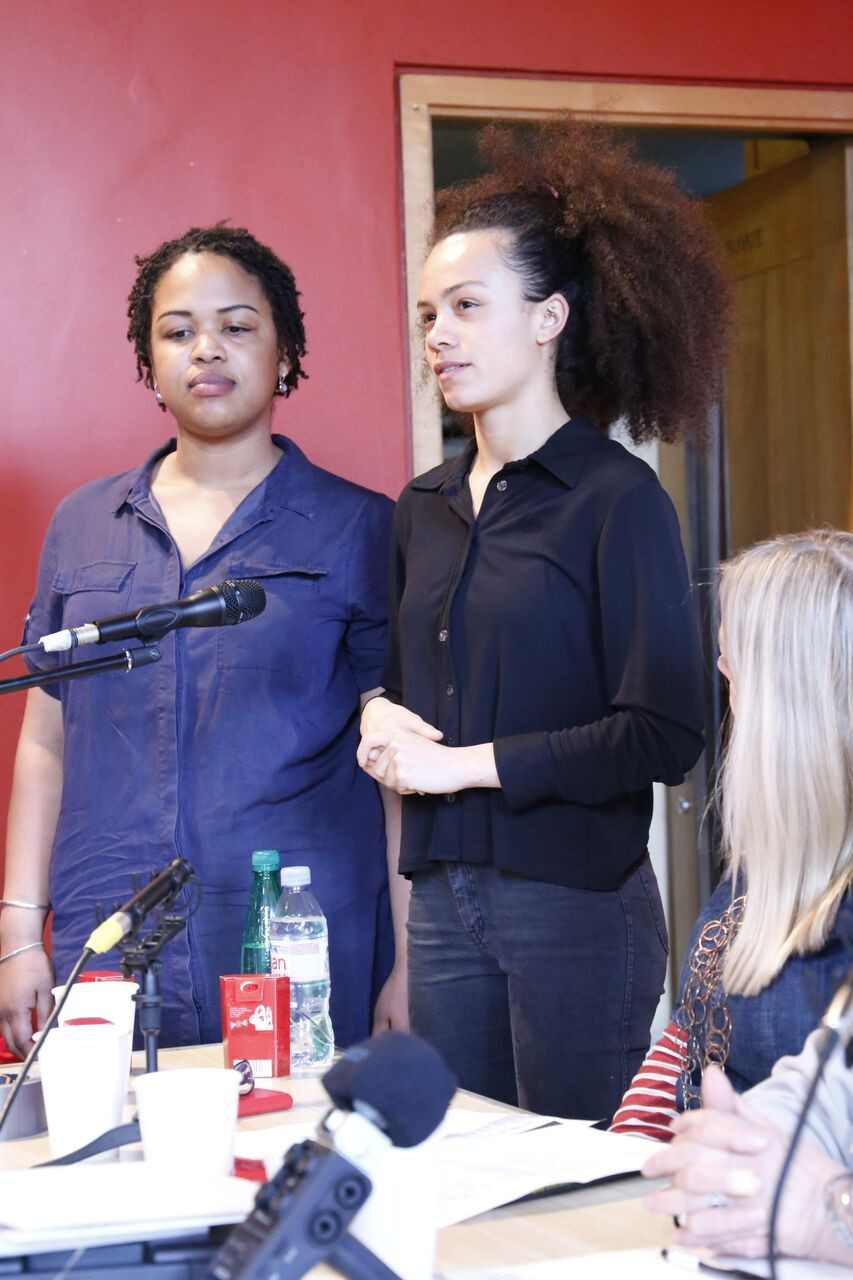 Ama (left) and Jasmine (Right) at the launch of A Hackney Autobiography