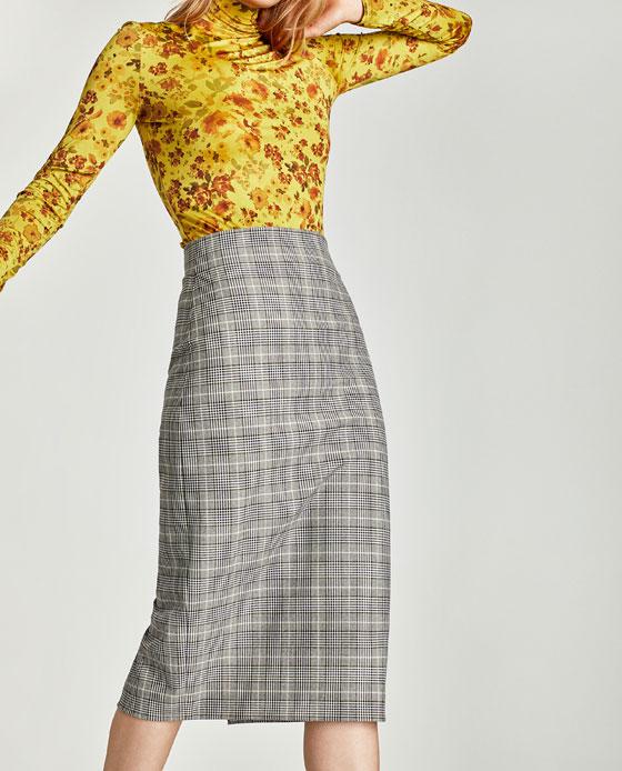 Check skirt Zara