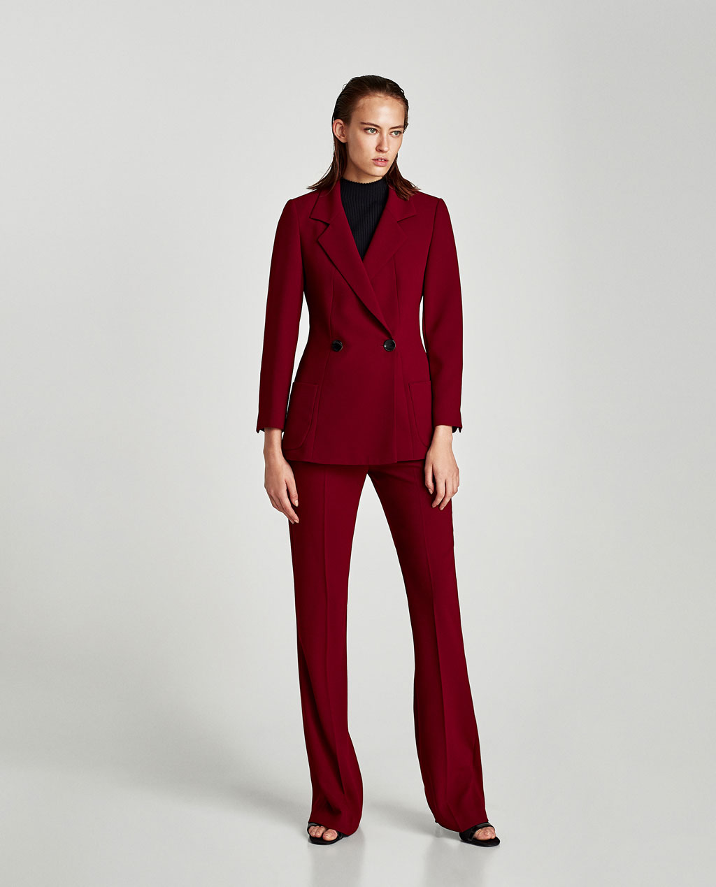 red pant suit
