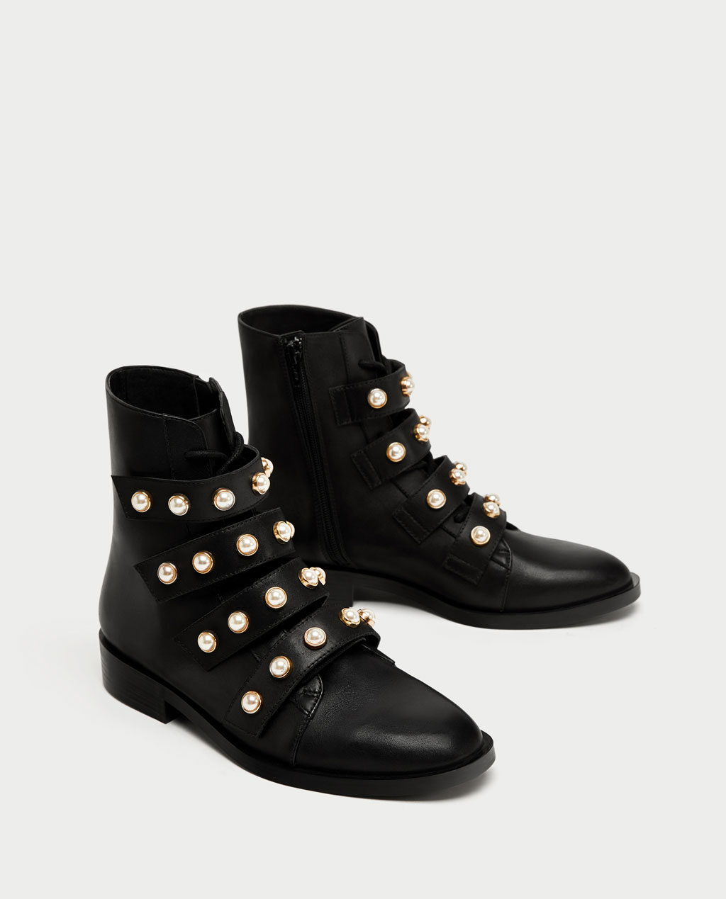 Army boots with pearls Zara