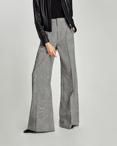 Wide check trousers