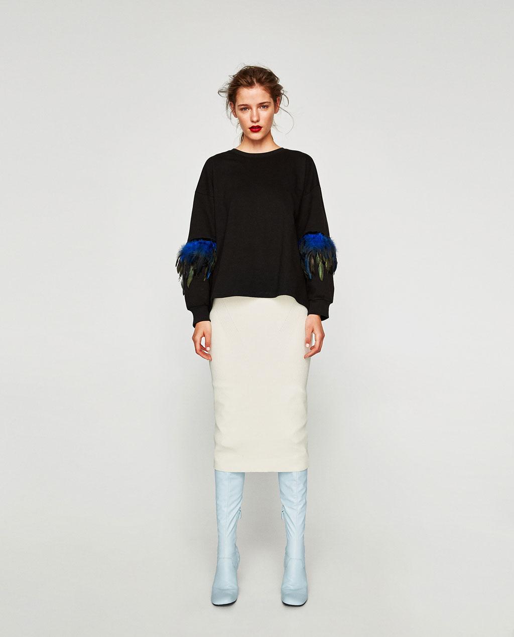 Feathers sweatshirt Zara