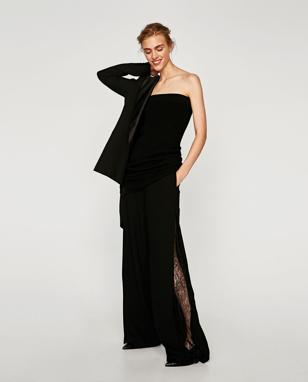 Palazzo trousers with lace insertion