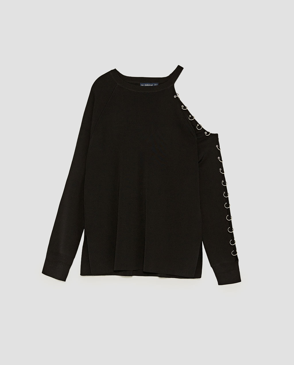 Sweater with cut outs and rings Zara