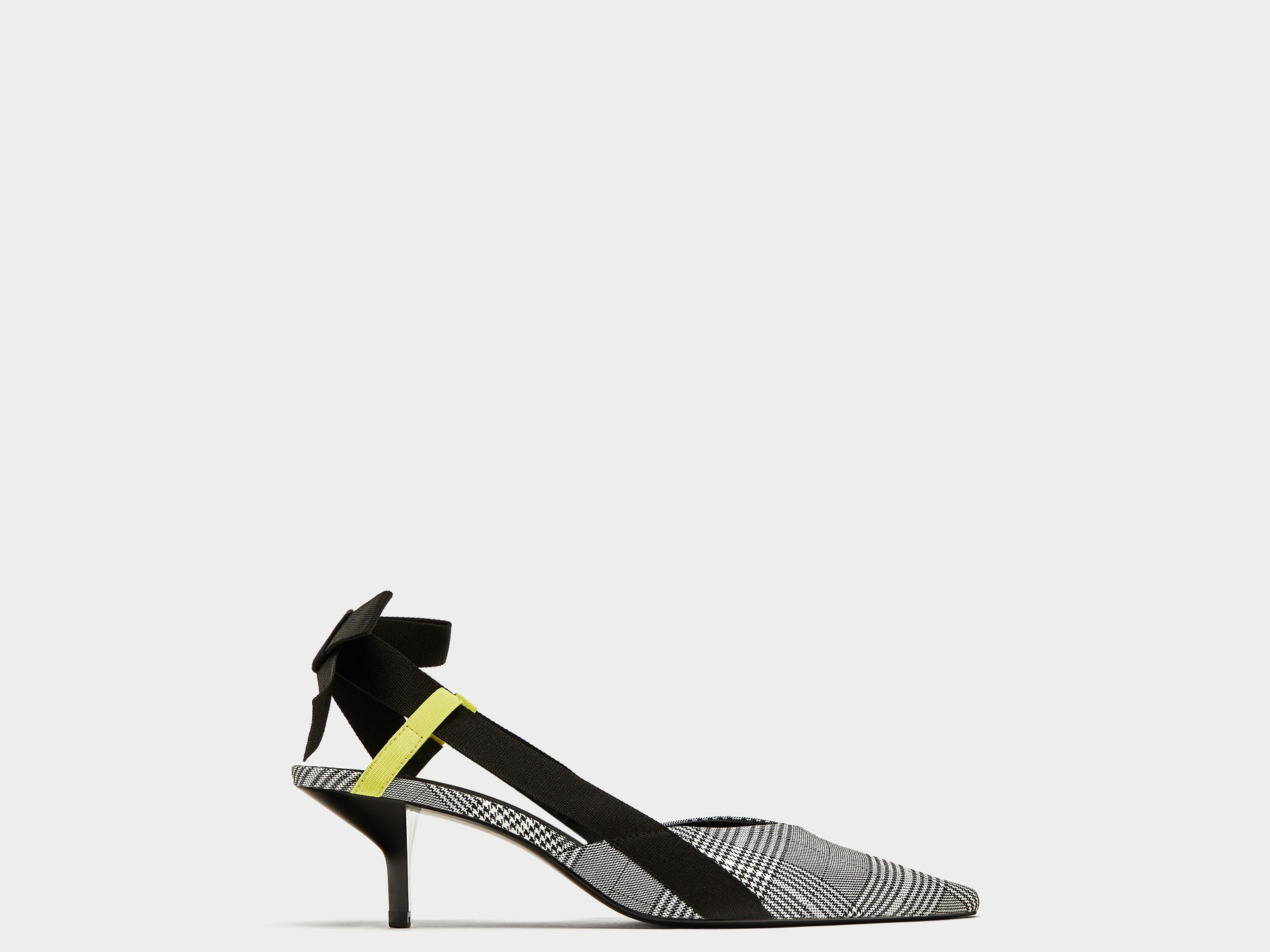 Check shoe with feathers Zara