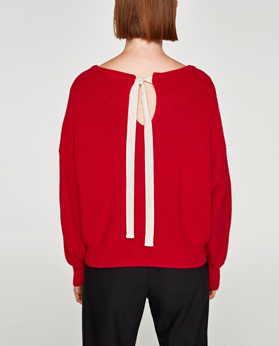 Red sweater with a back bow Zara