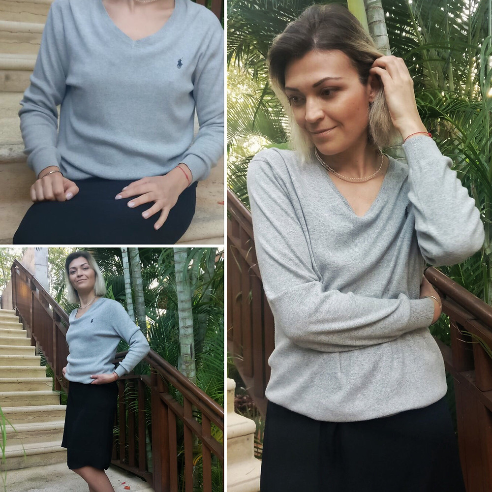 Dress: Mango Sweater: Ralph Lauren Choker: H&M