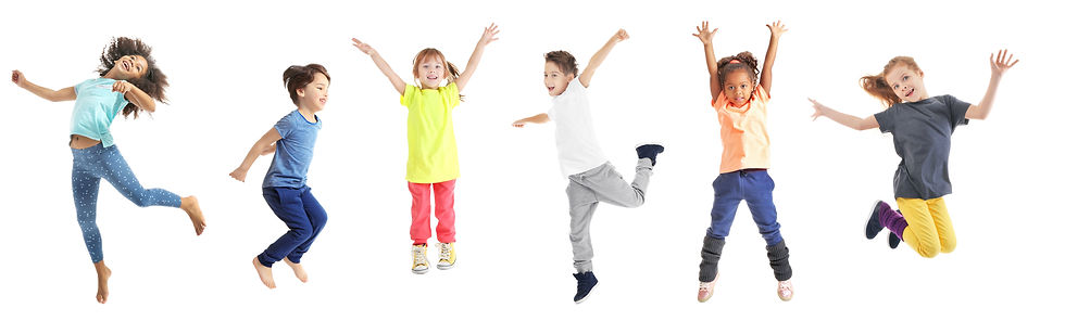 Collage of jumping schoolchildren on whi