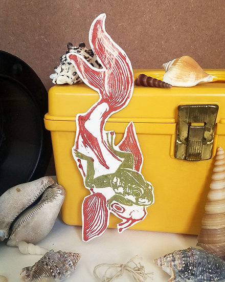 Koi and Frog Sticker