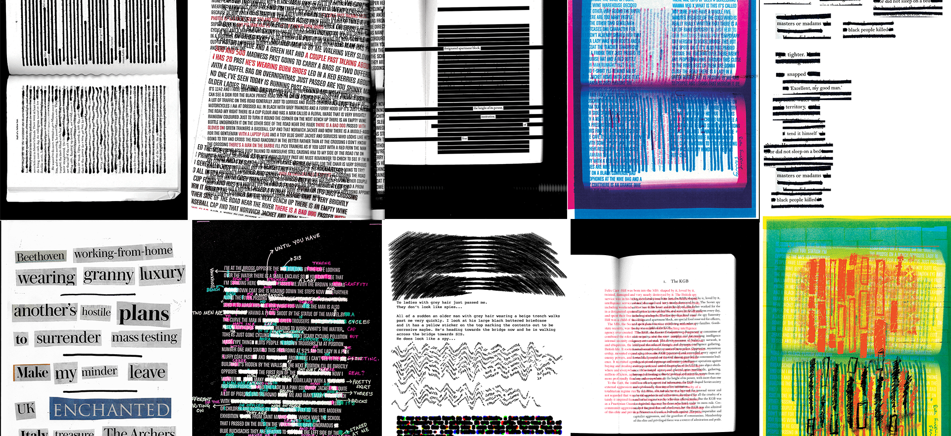 Various analog and digital redaction experiments