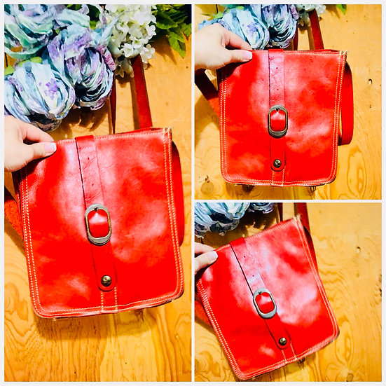 Patricia Nash Italian Leather Red Leather Messenger Crossbody