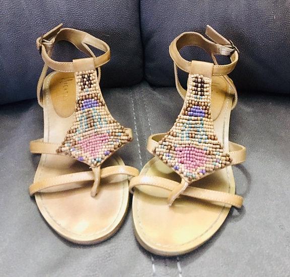 Nicoles Beaded Batik Cork Wedge Sandals