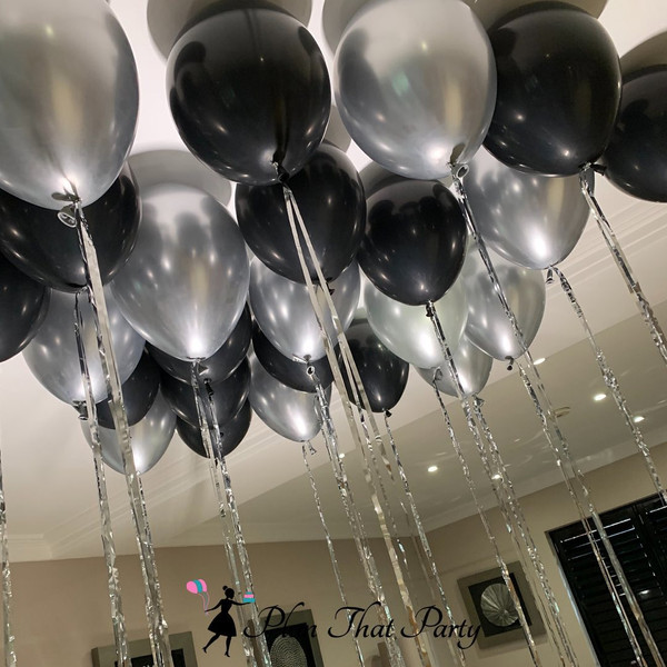 Black & Silver Ceiling Balloons