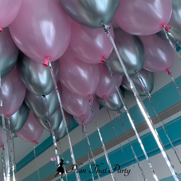 Pink & Silver Ceiling Balloons